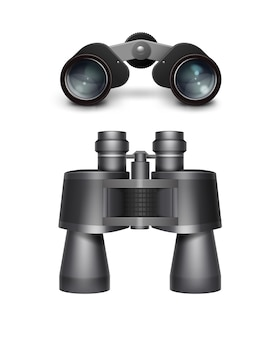 Conjunto de vetores de vista lateral superior de binóculos de viagem pretos isolado no fundo branco