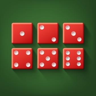 Conjunto de vetores de vista superior de dados de cassino vermelho isolado na mesa de pôquer verde