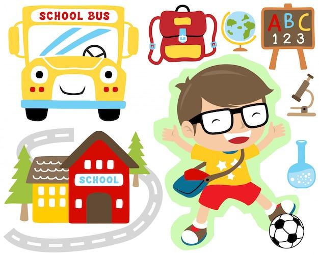 Conjunto de vetores de volta para escola dos desenhos animados