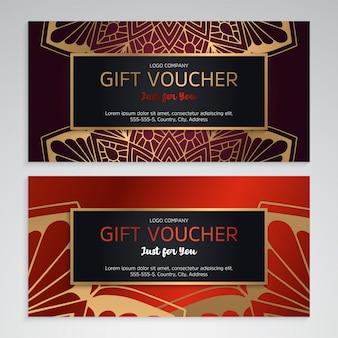 Conjunto de vetores de vouchers de presente vermelho luxo