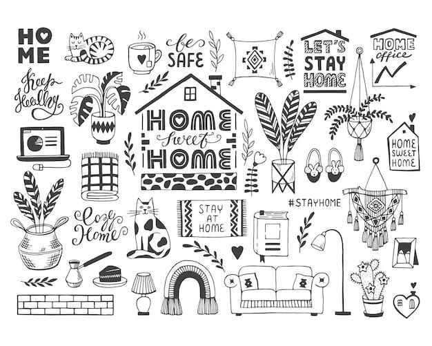 Conjunto de vetores desenhado para ficar em casa sobre o coronavírus covid19 doodles de proteção contra pandemia