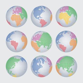 Conjunto de vetores do mundo mapa meio-tom ponto