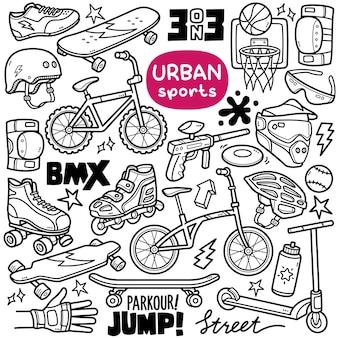 Conjunto de vetores doodle equipamentos relacionados a esportes urbanos, como skate, ciclismo, patinação, etc.