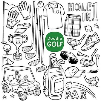 Conjunto de vetores doodle equipamentos relacionados ao golfe, como bolsa de luva de bandeira de motorista de golfe, etc.