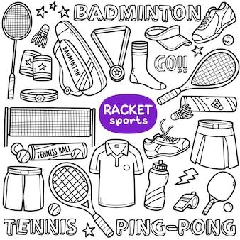 Conjunto de vetores doodle esportes relacionados à raquete, como tênis de pingue-pongue badminton etc.