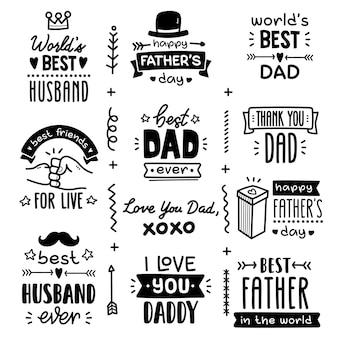 Conjunto de vetores doodle, saudações do dia dos pais