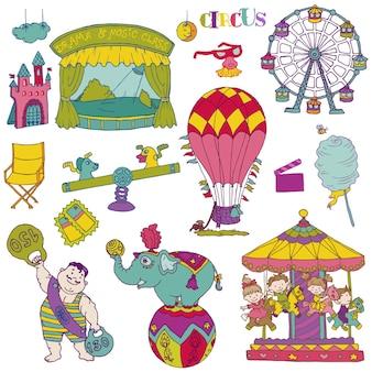 Conjunto de vetores: elementos de circo vintage - rabiscos desenhados à mão