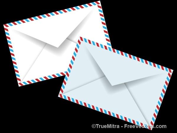 Conjunto de vetores envelopes branco