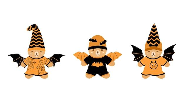 Conjunto de vetores fofo urso de pelúcia vestindo terno de morcego com asa e chapéu conceito de halloween