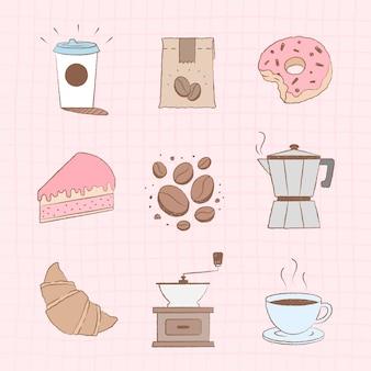 Conjunto de vetores fofos de elementos de design de café e bolo