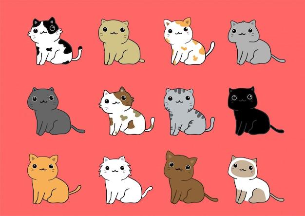 Conjunto de vetores gato fofo