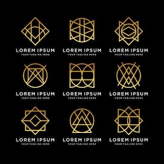 Conjunto de vetores geométricos decorativos de arte de linha