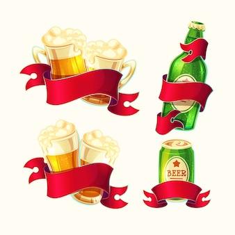 Conjunto de vetores isolado ilustrações de desenhos animados copos de cerveja, garrafa de vidro, lata de alumínio com fita vermelha.
