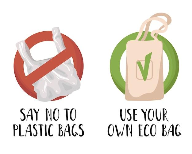 Conjunto de vetores - lixo de plástico e resíduos ou lixo, conceito de resíduos zero