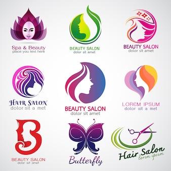 Conjunto de vetores logos design de salão de beleza