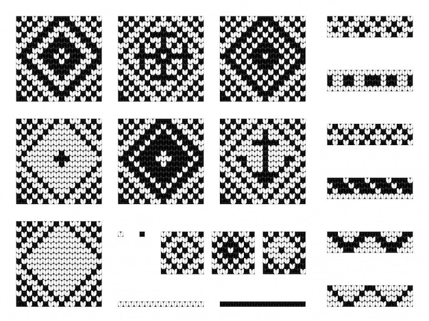 Conjunto de vetores marinhos de vovó tricô padrões sem emenda