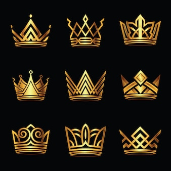 Conjunto de vetores ouro moderno coroa