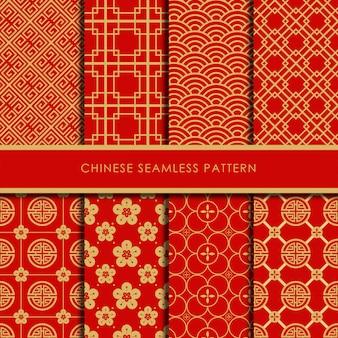 Conjunto de vetores padrão sem emenda chinês