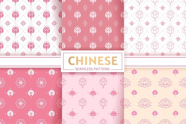 Conjunto de vetores padrões sem emenda chineses texturas florais flores de lótus e folhas textura ornamento