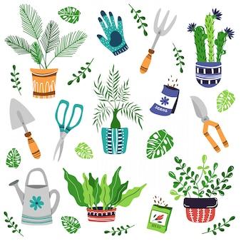 Conjunto de vetores - plantas de casa em vaso, ferramentas de jardim, sementes
