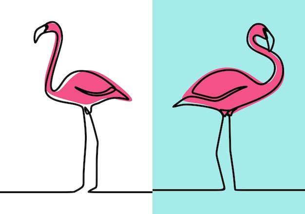 Conjunto de vetores premium de arte em linha contínua minimalismo de pássaro flamingo