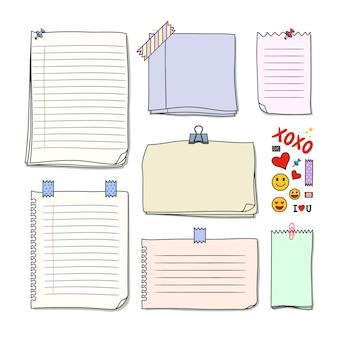 Conjunto de vetores premium de fundo de notas em branco desenhadas à mão