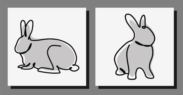 Conjunto de vetores premium de linha contínua de arte oneline de coelho