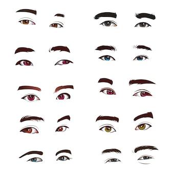 Conjunto de vetores realistas de olhos humanos