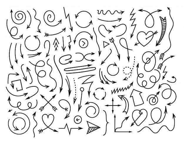 Conjunto de vetores simples setas diferentes