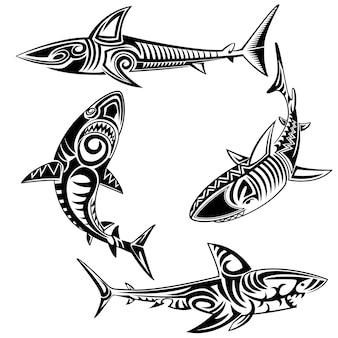 Conjunto de vetores tribal shark
