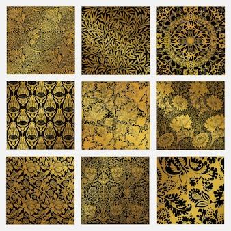 Conjunto de vetores vintage dourado padrão botânico remix de arte de william morris
