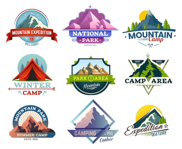 Conjunto de viagem de expedição de montanha, camping e caminhadas