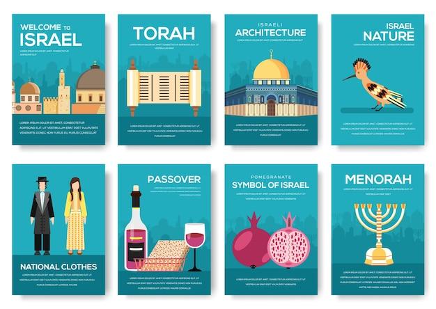 Conjunto de viagem de ornamento do país de israel