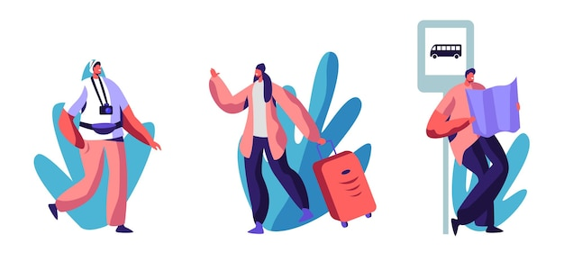 Conjunto de viagem de viagem ou caminhada. ilustração plana dos desenhos animados