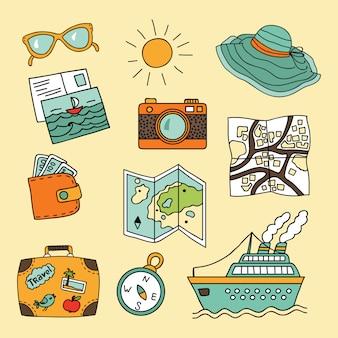 Conjunto de viagem em estilo cartoon