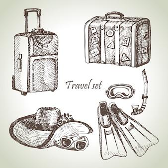 Conjunto de viagem. ilustrações desenhadas à mão