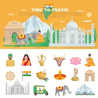 Conjunto de viagem na índia