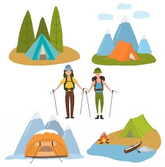 Conjunto de viagens com ilustração de pessoas