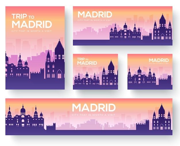 Conjunto de viagens de ornamento de paisagem de madrid