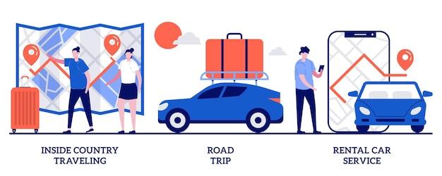 Conjunto de viagens dentro do país, viagem por estrada, serviço de aluguel de automóveis, férias ativas