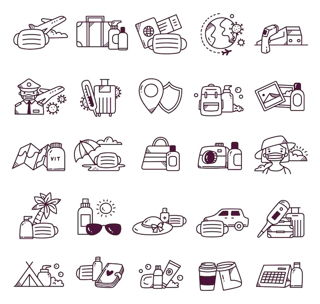 Conjunto de viagens durante o doodle pandêmico