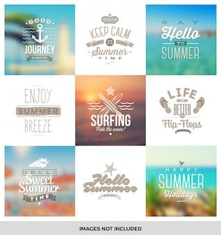 Conjunto de viagens e férias tipo emblemas e símbolos.