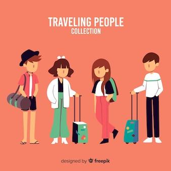 Conjunto de viajante de mão desenhada