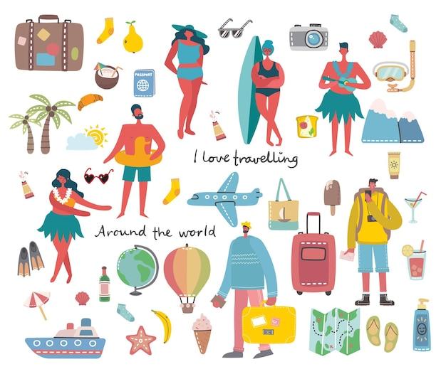 Conjunto de viajantes e elementos de viagem