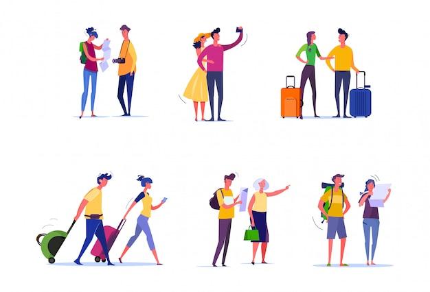Conjunto de viajantes e passageiros