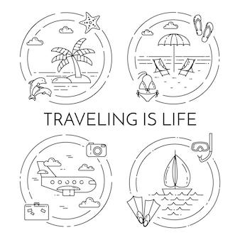 Conjunto de viajar banners horizontais com palma
