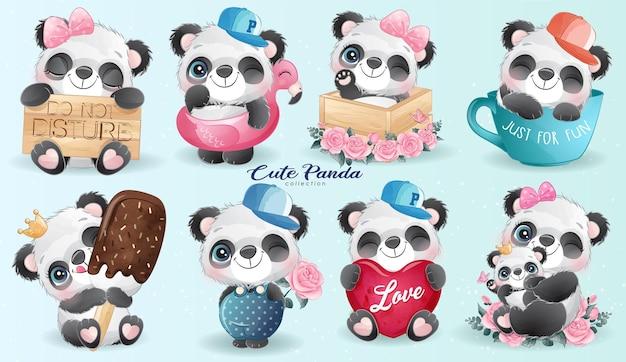 Conjunto de vida do pequeno panda fofo com ilustração em aquarela