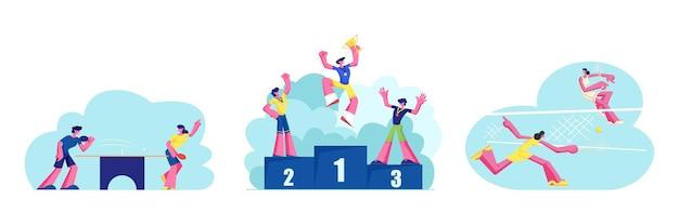 Conjunto de vida esportiva ativa de pessoas. meninas jogando tênis grande na quadra. competição de ping pong de personagens masculinos e femininos. atletas felizes no pódio dos vencedores com medalhas e taça. ilustração em vetor de desenho animado