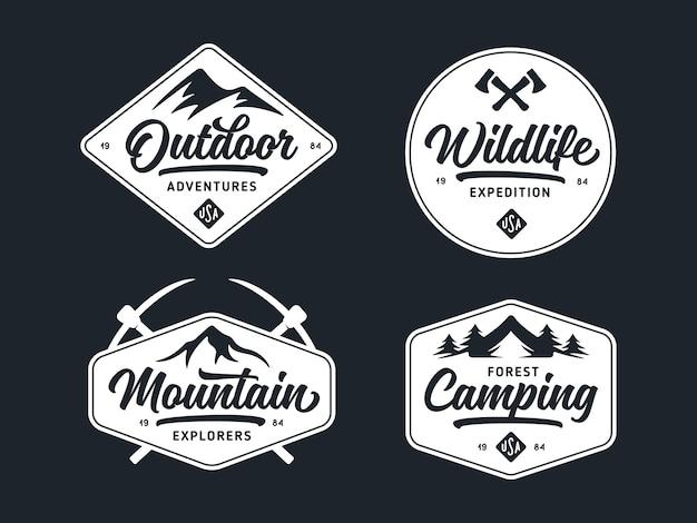 Conjunto de vida selvagem ao ar livre relacionados com etiquetas emblemas distintivos. ilustração em vetor vintage.