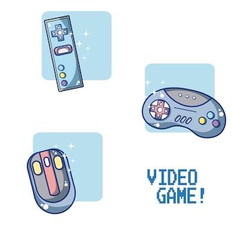 Conjunto de videogame e consoles design gráfico ilustração vetorial